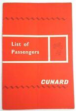 Cunard Cruise Line Rms Sylvania Passenger List, First Class August 19,1965 L19