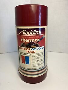 Vtg NOS 1984 Aladdin's 10 Oz Wide Mouth Food Thermos Red/Beige Made USA Aladdin