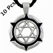 Wholesale 10 Pcs Star of David Jewish Symbol Men's Pewter Pendant Necklace