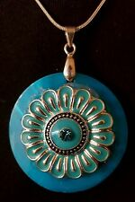 SILKY Blue Shell, Flower Pendant, NECKLACE
