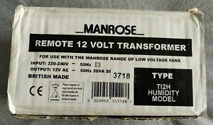 Manrose Remote 12 Volt Transformer Humidistat T12H Humidity Model