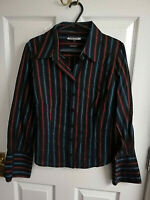 AUSTIN REED ITALY WOMENS BLACK LONG SLEEVE RED BLUE STRIPED BLOUSE SHIRT SIZE 8