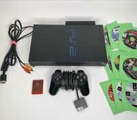 Sony PlayStation 2 PS2 Fat Console Bundle - Controller, Cables, 9 Games + Memory