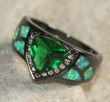 BLACK SILVER Elegant Green Fire Opal & Green Peridot Ring Size 6, WR40803