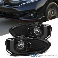 For 18-20Honda Fit Jazz Bumper Lamps Fog Lights+Switch+Glossy Black Mesh Bezels