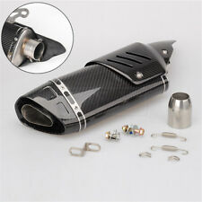 Universal Carbon Fiber Motorcycle Exhaust Tip Muffler Pipe DB Killer +Heat Guard