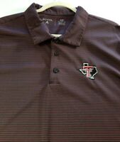 Texas Tech Antigua Men's Short Sleeve Polo Shirt XXL 2XL Black Red Stripes Game