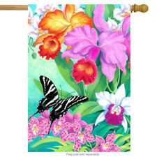 "Swallowtail Orchids House Flag Spring Butterfly Floral Decorative 28"" x 40"""