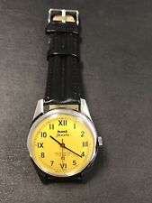 Vintage Hmt Janata Watch Hand Winding Yellow Dial