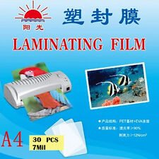 30 pcs 7Mil A4 Laminate Film 22x31cm Laminating Pouch Glossy Protect Photo Paper