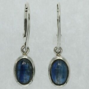 Genuine and Natural Blue Oval KYANITE Earrings 925 STERLING SILVER Leverback #26