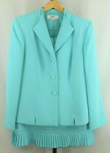 Le Suit Womens Ladies Aqua 2 Piece Skirt Suit Size 16