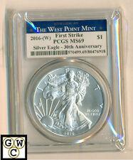 2016(W) West Point Mint USA Silver Eagle Dollar- 30th Ann. PCGS graded MS69-OOAK