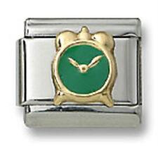 New 18k Gold Italian Charm Green Enamel Alarm Clock 9 mm Bracelet Modular Link