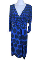 Basque Size 14 Blue & Black Dotted 3/4 Sleeved Fixed Cross Over Midi Lgth Dress