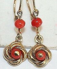 ANTIQUE VICTORIAN 9K GOLD SALMON CORAL CHILD SMALL DANGLE LOVEKNOT EARRINGS 1900