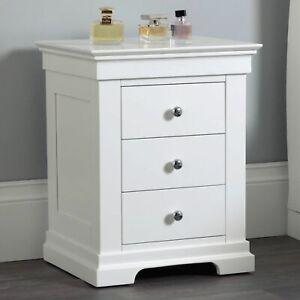 Jolie Oak White Painted Bedroom Storage Furniture 3-Drawer Bedside Cabinet Table