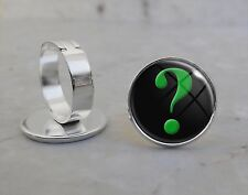Silver Plated Adjustable Ring Green Question Mark Interrogative Punctuation