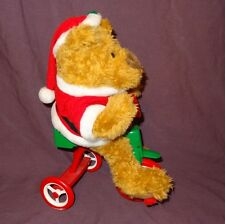 Avon Cycling Santa Teddy Bear Plush 12 Songs Rides Around on His Bike Retired