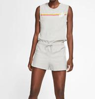 Nike Romper Womens Large New Gray Retro Rainbow Sportswear Soft Cotton Jersey