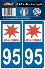 2 STICKERS DEPARTEMENT 95 PLAQUE IMMATRICULATION BLASON REGION ILE DE FRANCE