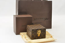 Auth Louis Vuitton Monogram Canvas Mini Jewelry Box Hard Trunk Case #S3711