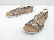e4d1ceb7be9b Ecco Strappy Sandals Womens 41 10 Pewter Silver Leather Slingback Open Toe  Flats