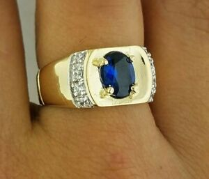 10k Yellow Gold Mens Blue Oval Stone Ring Sapphire 0.25 CT 5.4 grams sizes 9-13