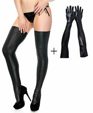 New Sexy Women Wet Look Thigh High Stocking and Long Lingerie Gloves Bundle Set