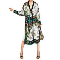 Loose Floral Print Sashes Kimono Cardigan Summer Beach Long Blouse Casual Shirt