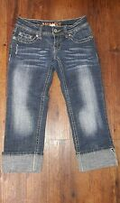 Hydraulic Ladies Distressed Cotton/Spandex Jean Capris Sz 1/2