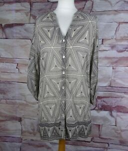 EAST sheer black cream geometric print blouse size 14