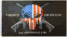 Liberty or Death Punisher 2nd Amendment 1789 Gun Rights Flag 3x5 Grommets (TOPW)