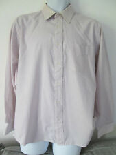GEORGE - BROWN/WHITE Long Sleeved Shirt Size 17 NECK POLYCOTTON