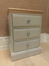 Grey Painted Oak Top Bedside Table Cabinet 3 Drawers Assembled & Delivery