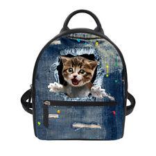 4fdb34b45e5c PU Leather Bag Denim Funny Cat Travel Backpack kids Day Pack For Teenager  Girls