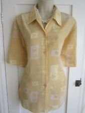 Ladies size 20 dark cream mix floral smart summer blouse top short sleeves