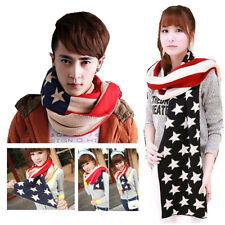 New Unisex Premium USA US American Flag Winter Warm Knit Scarf Warp Women Man
