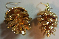 UNIQUE THANKSGIVING Christmas GOLD PINE CONE 925 EARRINGS Handcrafted NORA WINN