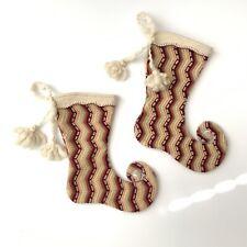 Anthropologie Knit Wool Christmas Stocking Zig Zag Scallop Elf Shoe Set Of 2
