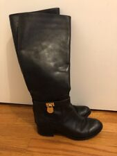 MICHAEL KORS Horse Riding Knee High GOLD LOCK LOGO LEATHER Boots Size 6 #s1