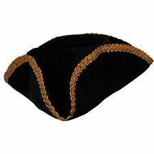Gold Trimmed Pirate Captain Black Beard Fancy Dress Halloween Party Tricorn Hat