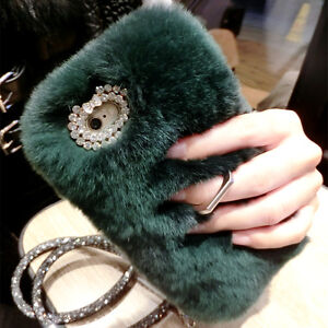 For LG Stylo 6 5 4 Luxury Fuzzy Rabbit Fur Ring Holder Stand Case Cover & Strap