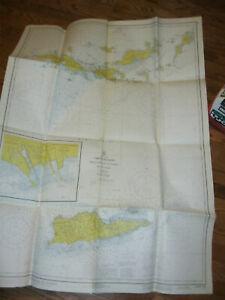 1973 Virgin Islands Nautical Chart Map LARGE NOAA Soundings St Croix, St Thomas