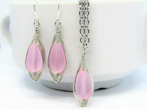 Pink Teardrop SEA GLASS Necklace + Earrings SET HANDMADE OOAK