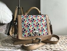 Fossil canvas & leather satchel shoulder bag cross body bag with key