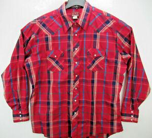 Wrangler Men's Size 2XT Tall Man LS Pearl Snap Western Shirt Plaid