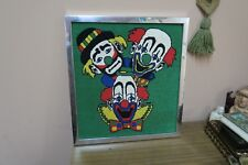 "Vintage Hand Made Stitched Needlepoint Framed 15"" x 17"" - 17"" x 18"" Clowns"