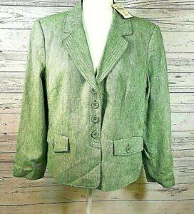 Coldwater Creek Womens 4 Petite L Blazer Lined Green Linen Blend Coat Button up
