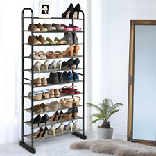 10-Tier Metal Frame Shoe Rack Pp Metal Black Hallway Living Room Entryway Boots